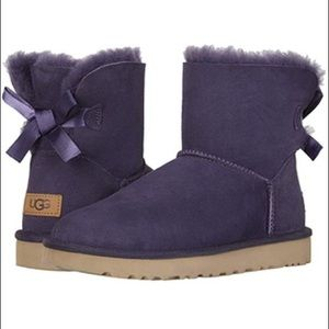 New UGG Mini Bailey Bow II Genuine Shearling Boot